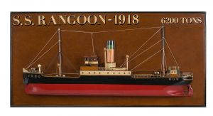 Authentic Models Wandmodell S.S. Rangoon 1918 Reise Dampfer Schittbild Holz