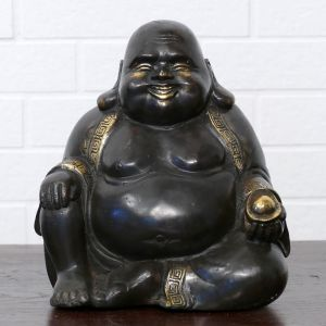 Happy buddha schwarz gold